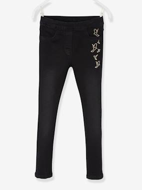 Girls-Trousers-Treggings with Embroidered Iridescent Birds, for Girls