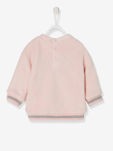 Plush Sweatshirt, for Baby Girls PINK LIGHT SOLID WITH DESIGN+WHITE LIGHT SOLID WITH DESIGN - vertbaudet enfant