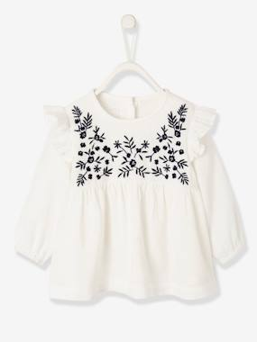 Baby-Blouses & Shirts-Ruffled & Embroidered Blouse for Baby Girls