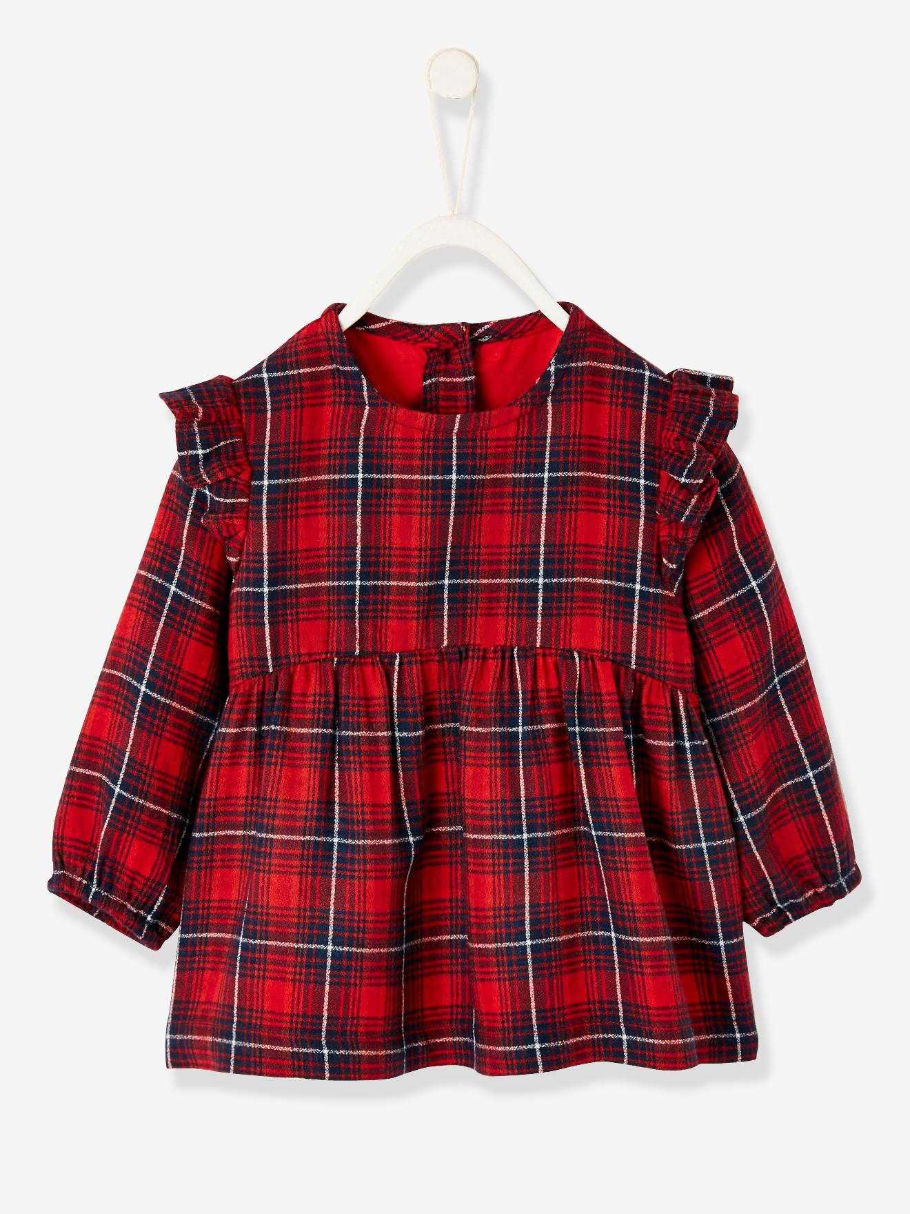Girls check blouse with round neckline and front pocket