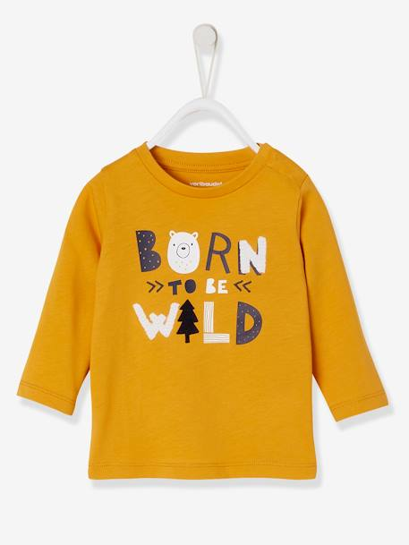 Fancy Long-Sleeved T-shirt for Baby Boys with Message YELLOW DARK SOLID WITH DESIGN - vertbaudet enfant