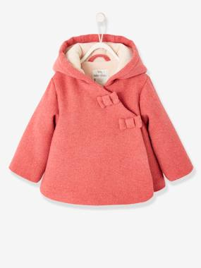 Vertbaudet Collection-Baby-Fabric Coat with Hood, Lined & Padded, for Baby Girls
