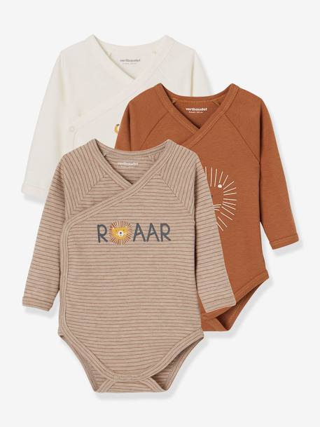Pack of 3 Long-Sleeved Bodysuits for Babies, in Pure Cotton BROWN MEDIUM 2 COLOR/MULTICOL+WHITE LIGHT TWO COLOR/MULTICOL - vertbaudet enfant
