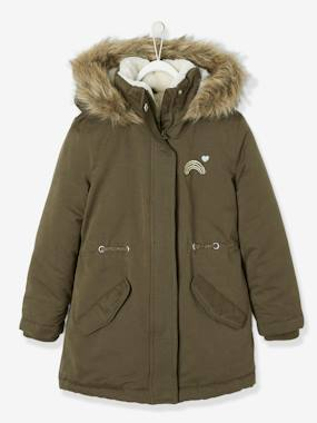 Vertbaudet Collection-Girls-Parka with Hood & Iridescent Patch, for Girls