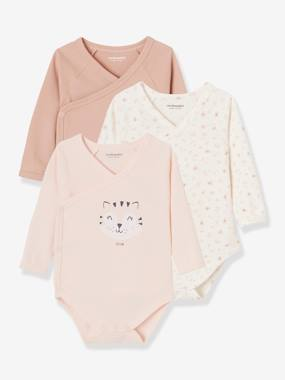 Baby-Bodysuits & Sleepsuits-Pack of 3 Long-Sleeved Bodysuits for Babies, in Pure Cotton