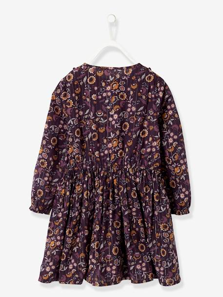 Long Dress, with Flower Print & Shimmery Yarn, for Girls PURPLE DARK ALL OVER PRINTED - vertbaudet enfant
