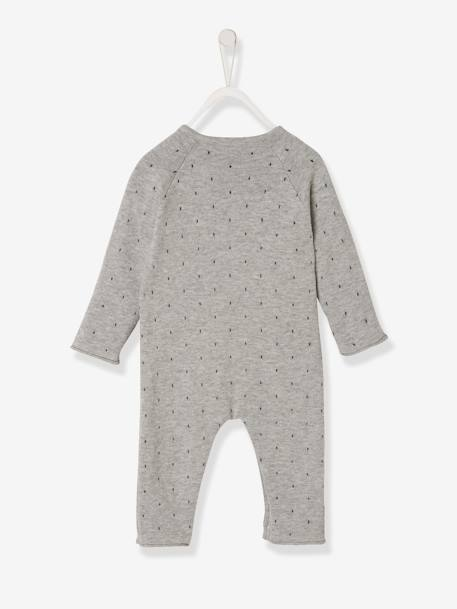 Little Baby Knitted Jumpsuit, for Newborn Babies GREY DARK MIXED COLOR - vertbaudet enfant