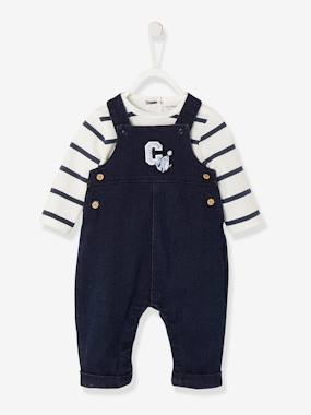 Baby-Dungarees & All-in-ones-Denim-Effect Dungarees in Fleece & Striped Bodysuit Set, for Newborns