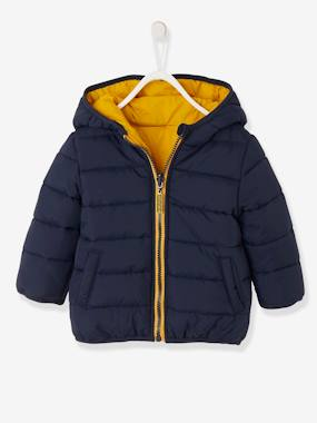 Coat & Jacket-Reversible Jacket with Hood for Baby Boys