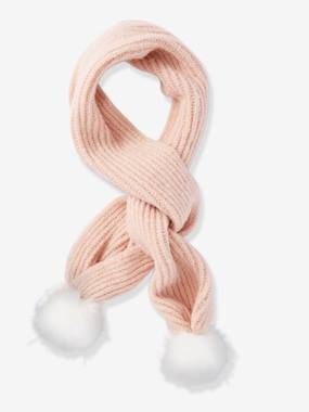 Girls-Accessories-Scarf with Faux Fur Pompons, for Girls