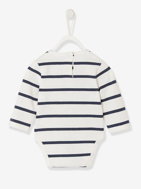 Denim-Effect Dungarees in Fleece & Striped Bodysuit Set, for Newborns BLUE DARK SOLID - vertbaudet enfant