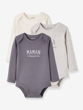 Baby-Bodysuits & Sleepsuits-Pack of 2 Long-Sleeved Bodysuits for Babies,