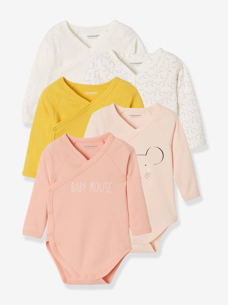 Pack of 5 Long-Sleeved Bodysuits for Newborn Babies, Front Opening GREEN MEDIUM 2 COLOR/MULTICOLR+YELLOW MEDIUM 2 COLOR/MULTICOL - vertbaudet enfant