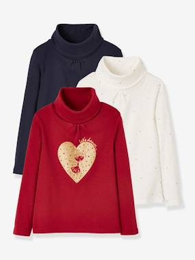 Girls-Tops-Roll Neck Tops-Pack of 3 Assorted Polo Necks for Girls