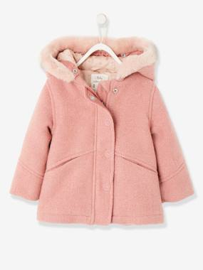 Vertbaudet Collection-Baby-Fabric Coat with Hood, for Baby Girls