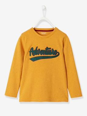 Boys-Tops-T-Shirts-Long-Sleeved T-Shirt with Bouclé Inscription for Boys