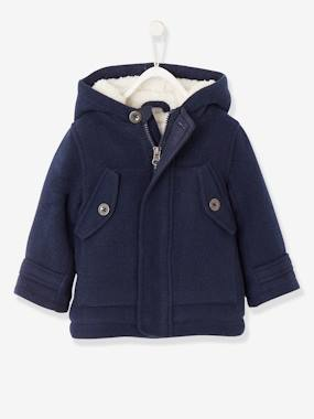 Baby-Woollen Coat with Hood, Lined & Padded, for Baby Boys
