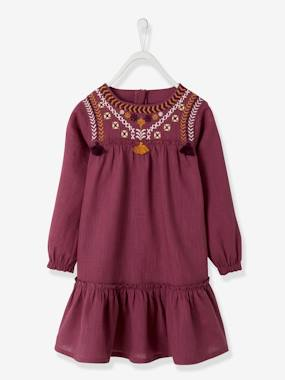Girls-Embroidered Dress in Cotton Gauze, for Girls