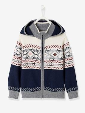 Boys-Cardigans, Jumpers & Sweatshirts-Cardigans-Hooded Cardigan with Jacquard Motif for Boys
