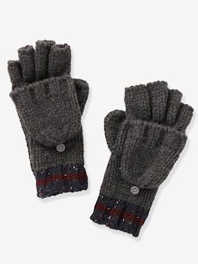 Boys-Accessories-Winter Hats, Scarves & Gloves-Convertible Glove Mittens in Mottled Knit, for Boys