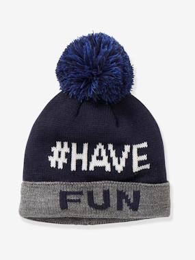 Boys-Accessories-Beanie with Pompom & Fun Message, for Boys