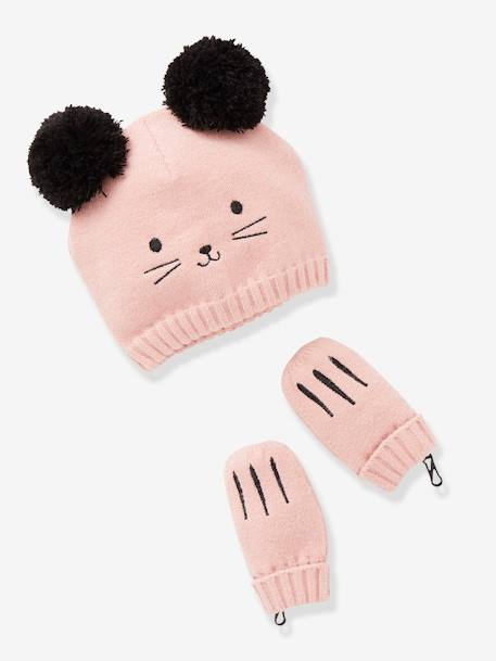 Lined Beanie + Mittens Set, for Baby Girls PINK LIGHT SOLID - vertbaudet enfant