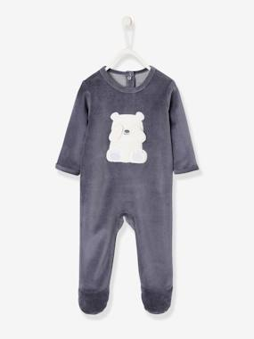 Vertbaudet Collection-Baby-Velour Sleepsuit for Babies, with Press Studs on the Back