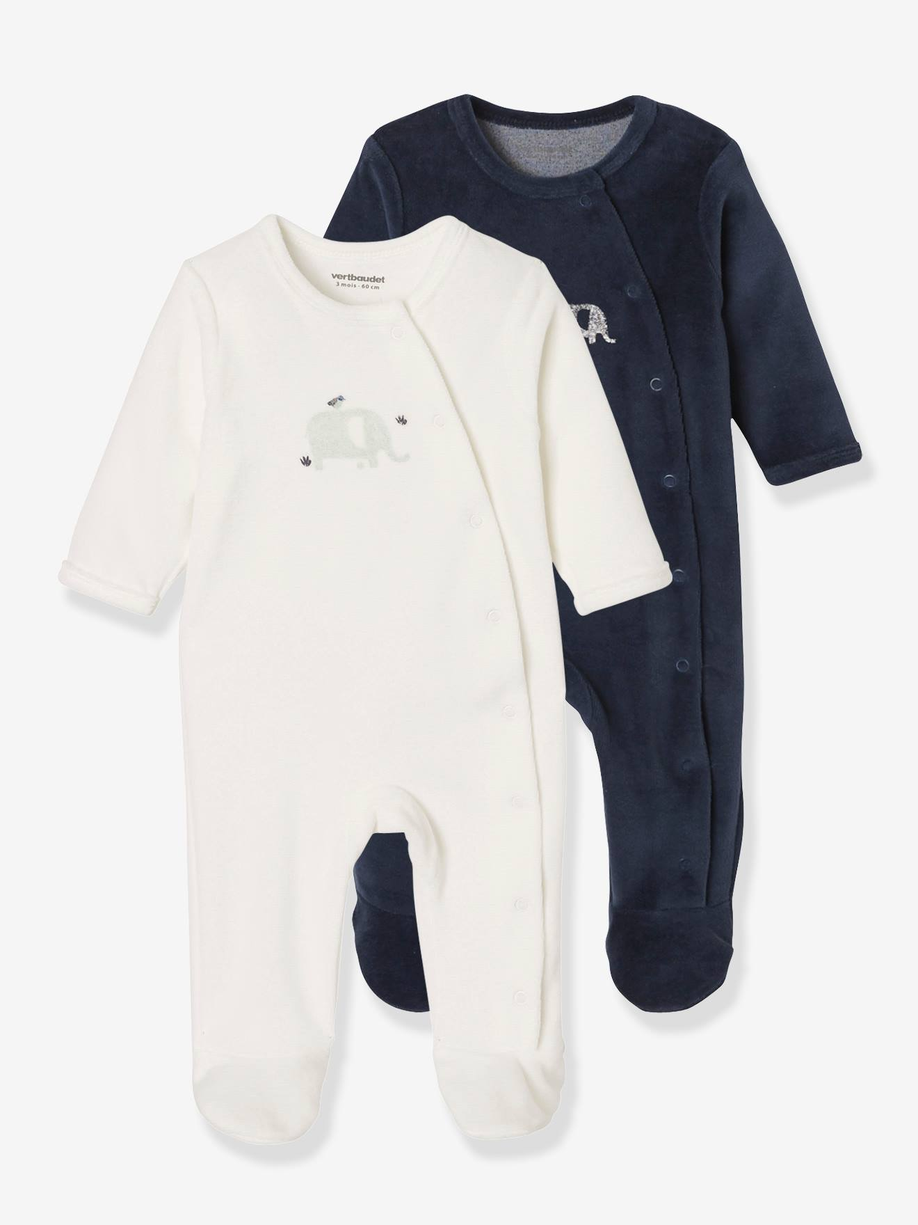 Pack of 7 Velour Sleepsuits for Newborn Babies, Front Opening - blue dark  solid with design