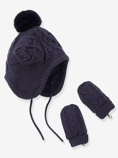 Lined Chapka Hat + Mittens Set, for Babies BLUE DARK SOLID+PINK LIGHT SOLID - vertbaudet enfant