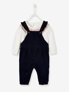 Baby-Dungarees & All-in-ones-Top & Dungarees Ensemble for Baby Girls