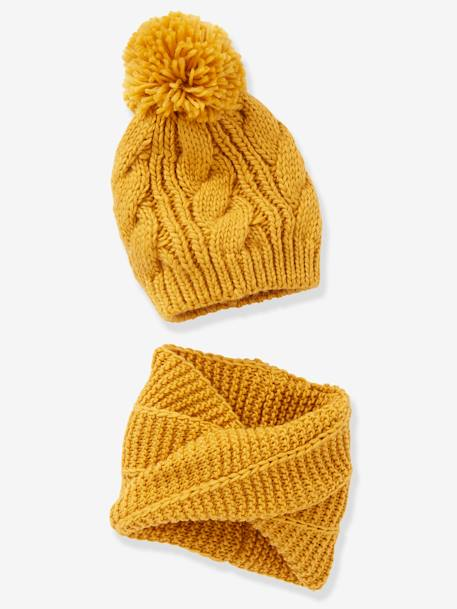 Beanie with Pompom + Crossover Snood Set, for Girls BLUE DARK SOLID+BROWN DARK SOLID+YELLOW DARK SOLID - vertbaudet enfant
