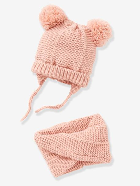Chapka + Snood Set, for Baby Girls PINK LIGHT SOLID+RED DARK SOLID - vertbaudet enfant