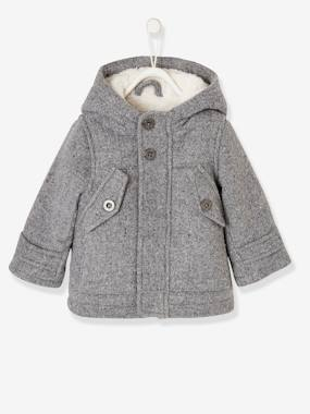 Coat & Jacket-Woollen Coat with Hood, Lined & Padded, for Baby Boys