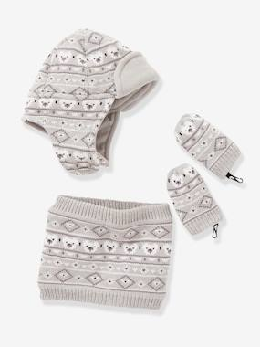 Baby-Hats & Accessories-Baby Boys Snood, Hat & Mittens Set