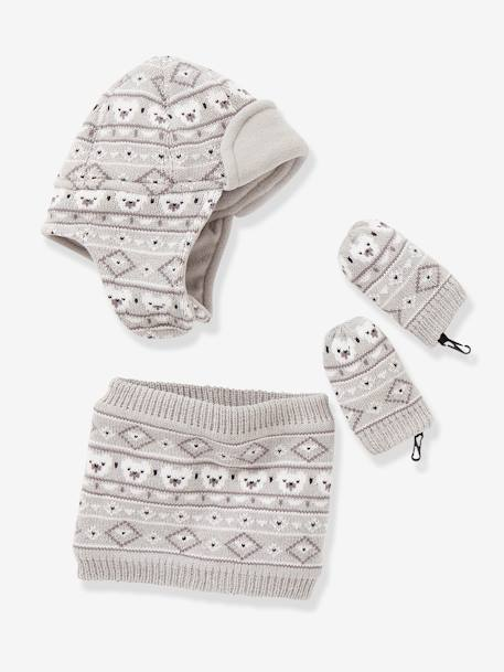 Baby Boys Snood, Hat & Mittens Set BLUE DARK SOLID+GREY LIGHT MIXED COLOR - vertbaudet enfant