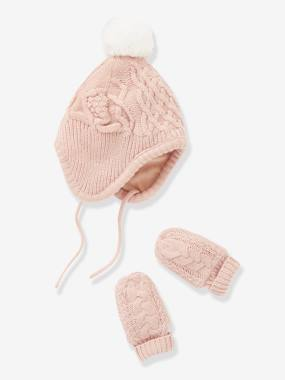 Baby-Hats & Accessories-Lined Chapka Hat + Mittens Set, for Babies