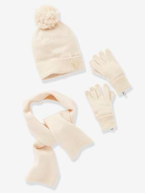 Girls-Accessories-Winter Hats, Scarves, Gloves & Mittens-Set for Girls: Beanie + Scarf + Gloves with Details in Shimmery Yarn