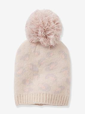 Girls-Accessories-Leopard Print Beanie, with Pompom, for Girls