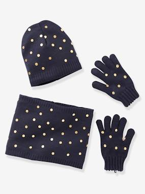 Vertbaudet Basics-Girls-Beanie + Snood + Gloves Set for Girls