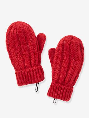 Girls-Accessories-Winter Hats, Scarves, Gloves & Mittens-Cable Knit Gloves, for Girls