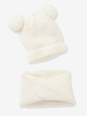 Girls-Accessories-Beanie with Pompons + Crossover Snood Set, for Girls