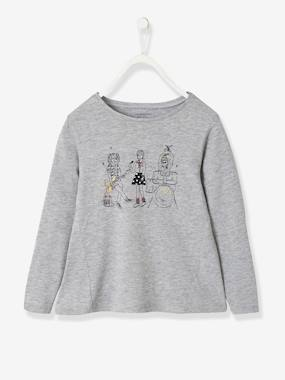 Girls-Tops-T-Shirts-Top with Rock & Chic Motif + Iridescent Details, for Girls