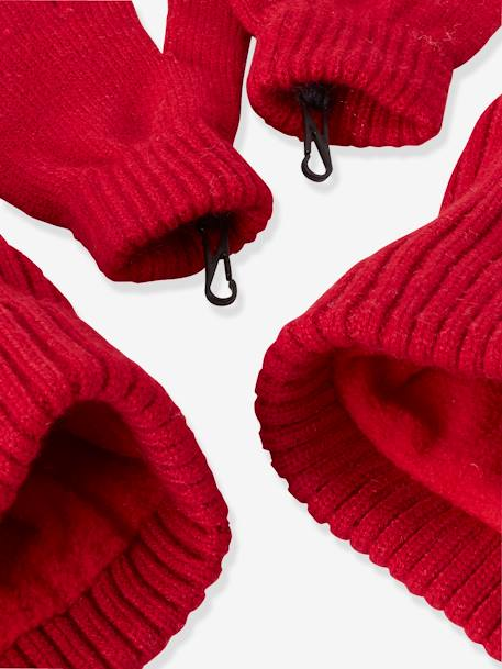 Beanie + Snood + Gloves Set, for Girls GREY LIGHT SOLID+RED DARK SOLID - vertbaudet enfant