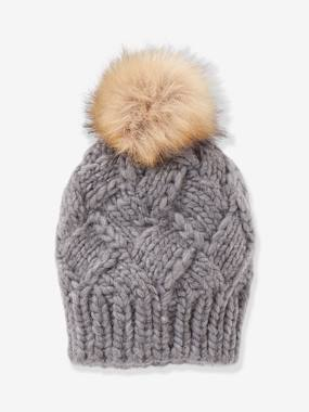 Girls-Accessories-Winter Hats, Scarves, Gloves & Mittens-Cable Knit Beanie with Pompom, for Girls