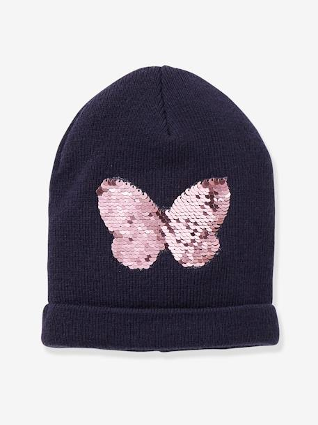 e747bdc7d Beanie with Reversible Sequins, for Girls - blue dark solid, Girls