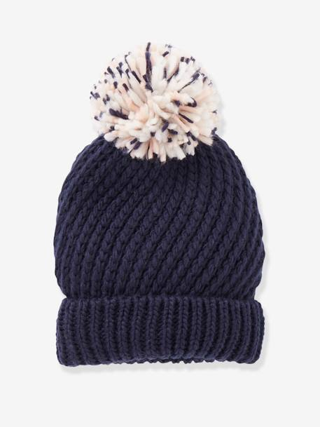 Beanie with Pompom BLUE DARK SOLID+YELLOW DARK SOLID - vertbaudet enfant