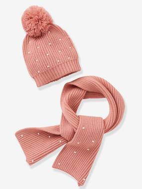 Girls-Accessories-Winter Hats, Scarves, Gloves & Mittens-Beanie + Scarf with Pearls, for Girls