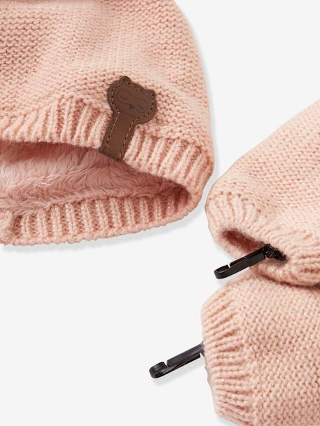 Baby Girls' Iridescent Beanie, Snood & Mittens Set, Lined GREY LIGHT SOLID+PINK DARK SOLID+WHITE LIGHT SOLID - vertbaudet enfant