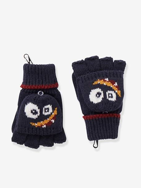 Convertible Mitten Gloves, for Boys BLUE DARK SOLID WITH DESIGN - vertbaudet enfant