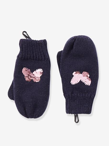 Mittens with Reversible Sequins, for Girls BLUE DARK SOLID+GREY LIGHT MIXED COLOR - vertbaudet enfant